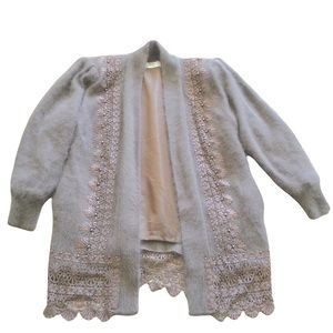 VINTAGE 80% Angora Open Sweater Cardigan Beaded Embroidered lined Shoulder Pads